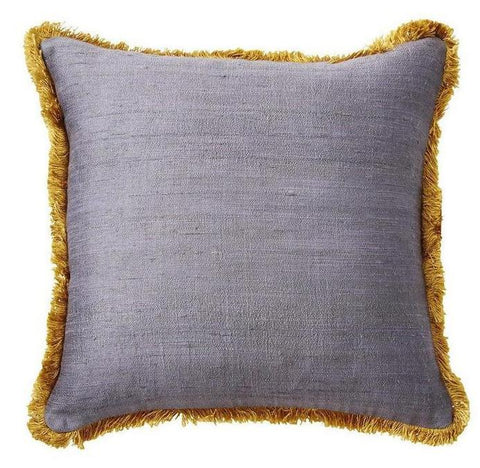 Grey Silk Fringe Pillow - CENTURIA