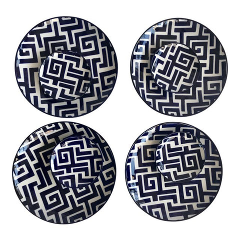 Navy and White Greek Key Motif Plates-Set/8 - CENTURIA
