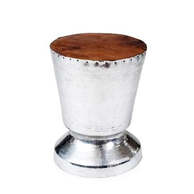 Teakwood and Hammered Silver Side Table - CENTURIA