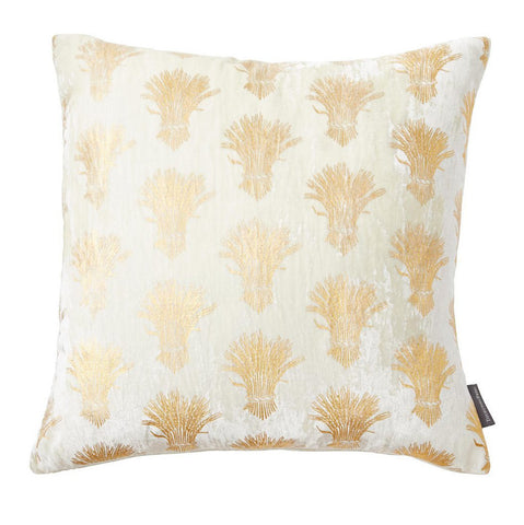 Ivory and Gold Sheath-of-Wheat Pillow