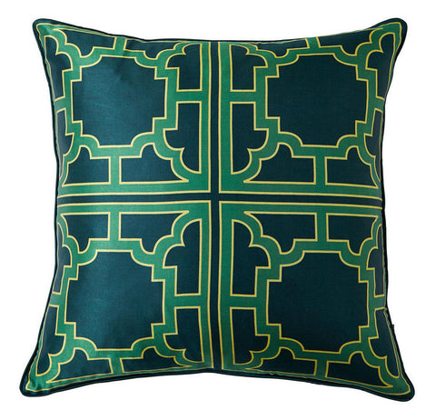 Kelly Green Geometic Silk Pillow