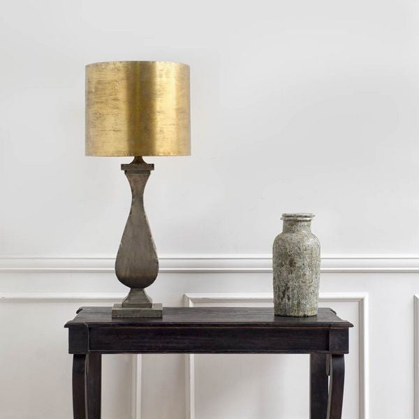 Large Gold and Galvanized Metal Table Lamp - CENTURIA