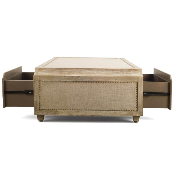 Linen and Nailhead Whitewashed Coffee Table - CENTURIA