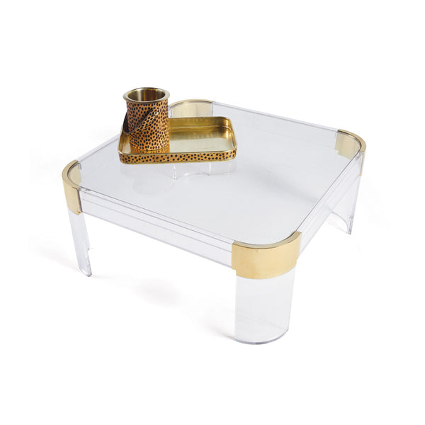 Lucite and Brass Square Coffee Table - CENTURIA
