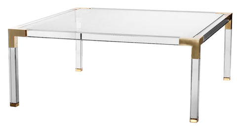 Lucite and Brass Coffee Table - CENTURIA