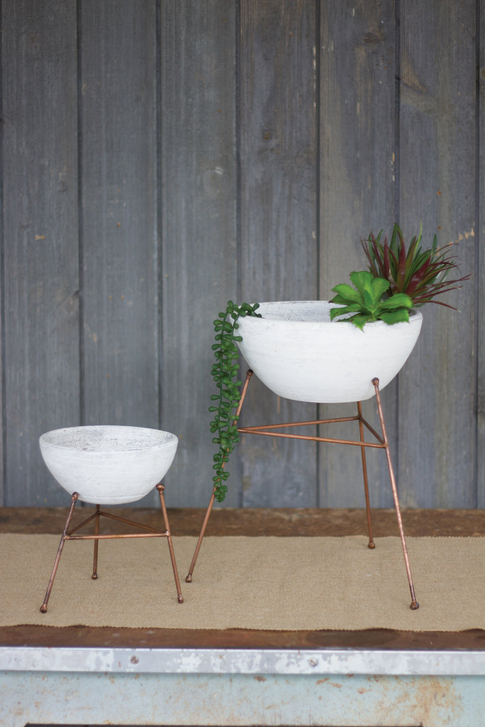 White Washed Clay Planters-Set/2