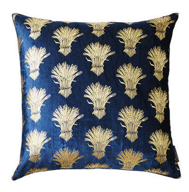 Navy Velvet Sheath-of-Wheat Pillow - CENTURIA