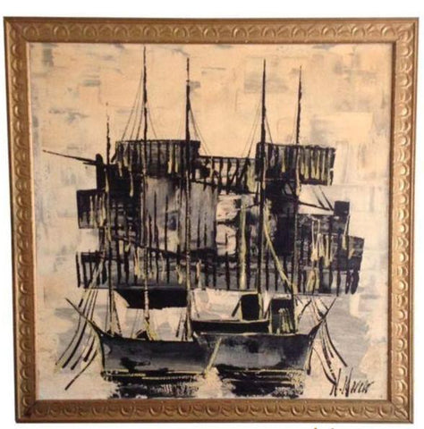 Asian Mid-Century Ship Painting