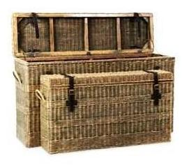 Rattan and Leather Consoles Set/2 - CENTURIA