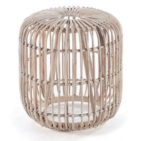 Whitewashed Rattan Stool - CENTURIA