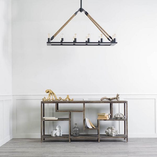 Rustic Metal and Rope Chandelier - CENTURIA