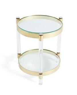 Lucite and Brass Round Side Table - CENTURIA