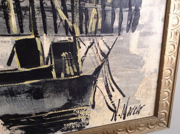 VINTAGE Asian Mid-Century Ship Painting - CENTURIA
