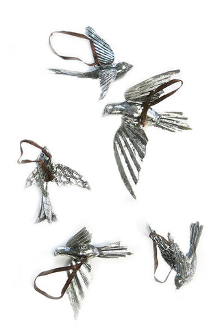 Silver Hanging Birds-Set/5 - CENTURIA
