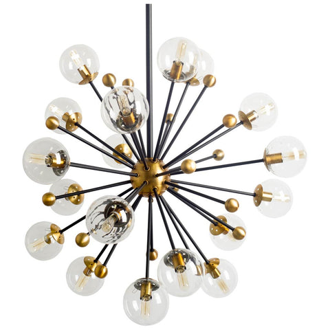 Gold Glass Globe Sputnik Chandelier