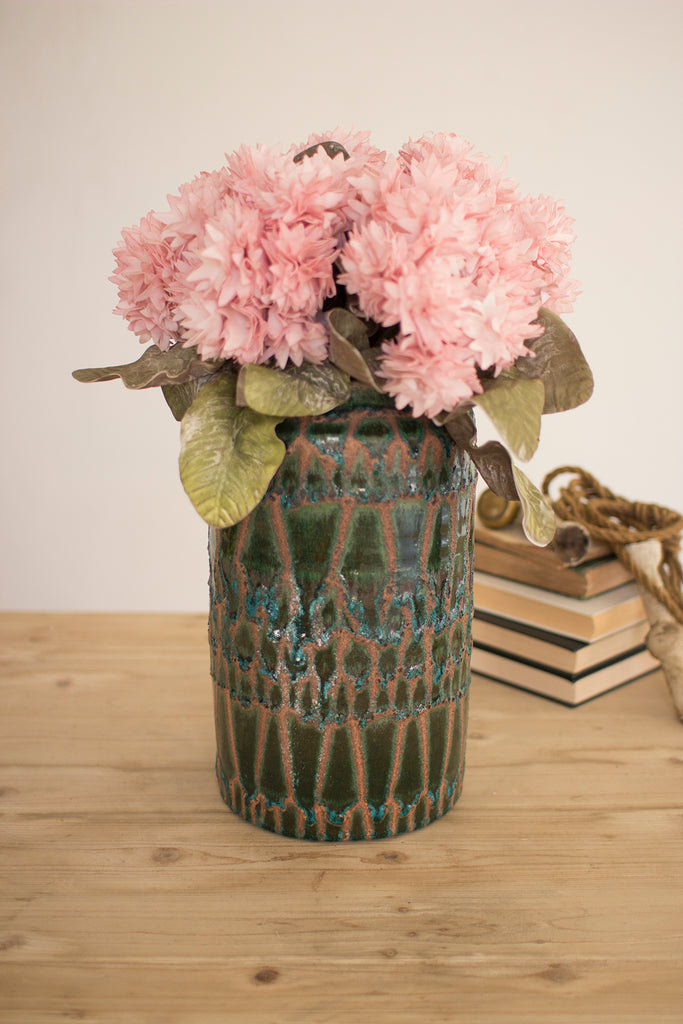 Teal and Green Pottery Vase - CENTURIA