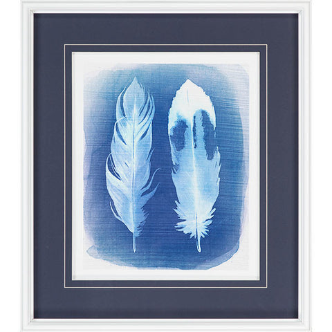 Navy and White Feather Motif II - CENTURIA