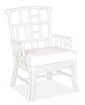 White Faux Bamboo Armchair