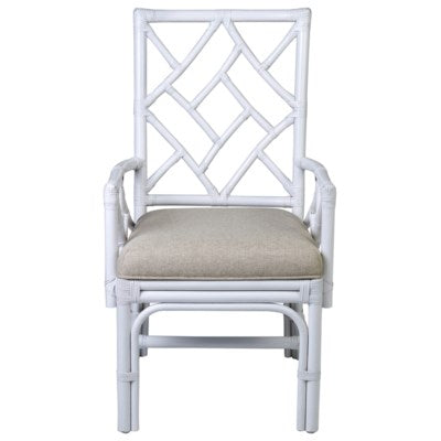 Chippendale White Rattan Arm Chair - CENTURIA