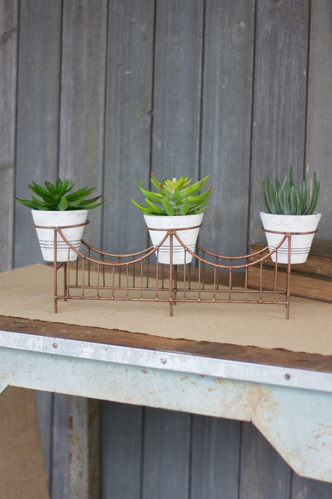 White Washed and Copper Planter Centerpiece