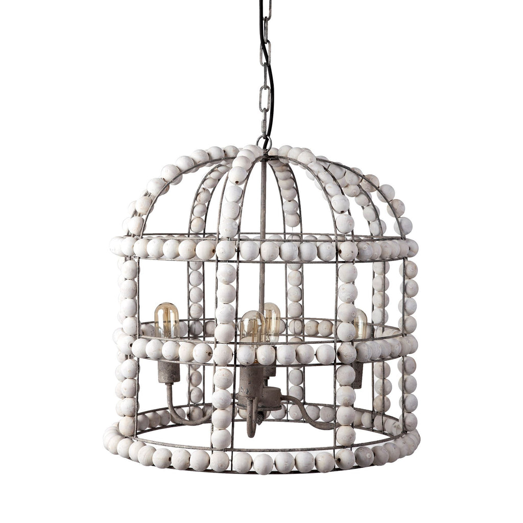 White Washed Mango Bead Chandelier - CENTURIA