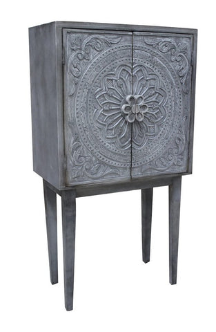 Whitewashed Grey Vintage Style Wine Cabinet - CENTURIA