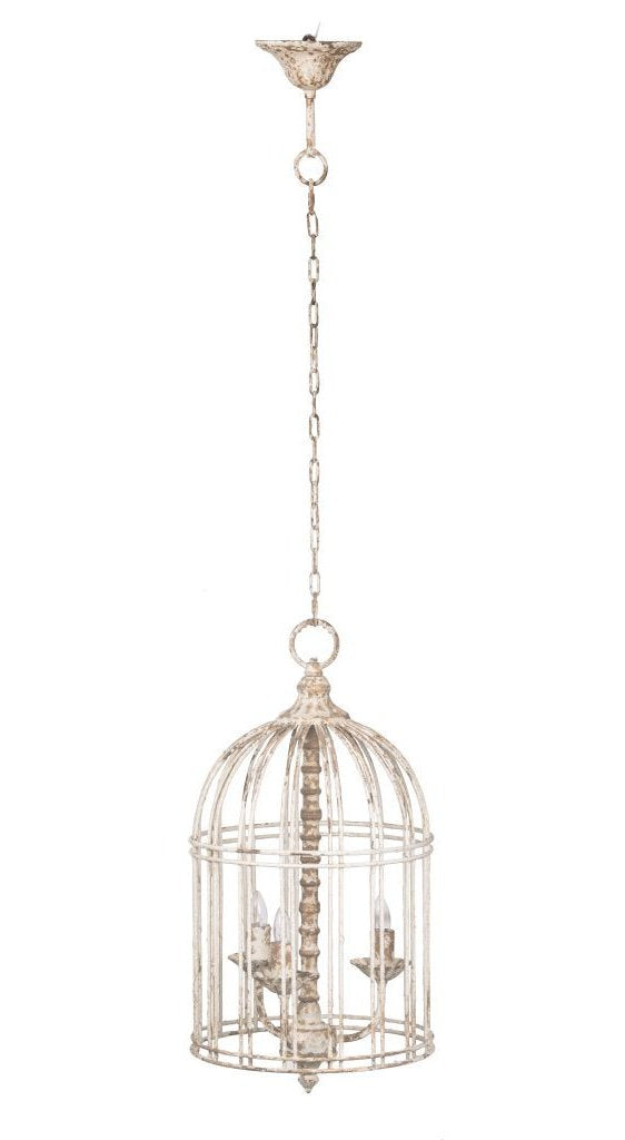 Agathe Whitewashed Iron Chandelier - CENTURIA