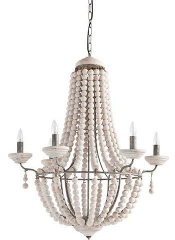 White washed Wooden Chandelier