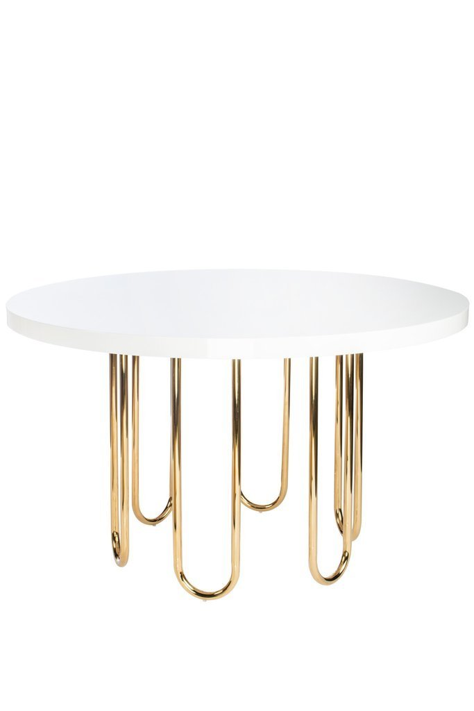 White and Gold Modern Dining Table - CENTURIA