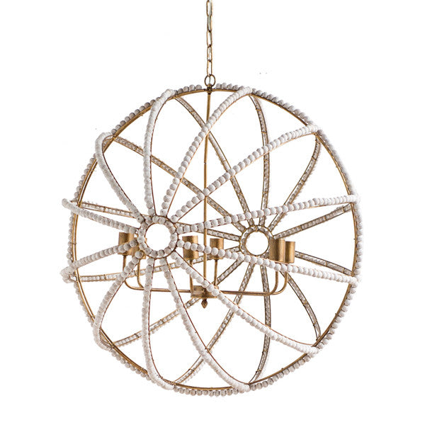 White Washed Globe Chandelier - CENTURIA