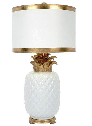 Palm Beach White & Gold Pineapple Lamp