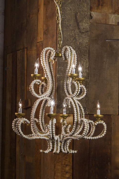 Iron Chandelier with Wood Beads - CENTURIA