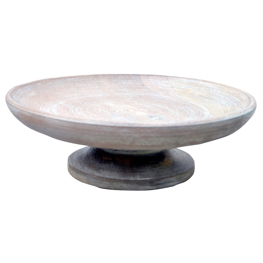 Whitewashed Wooden Footed Bowl - CENTURIA