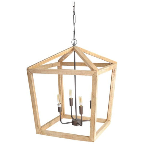 Wooden Square Open Chandelier