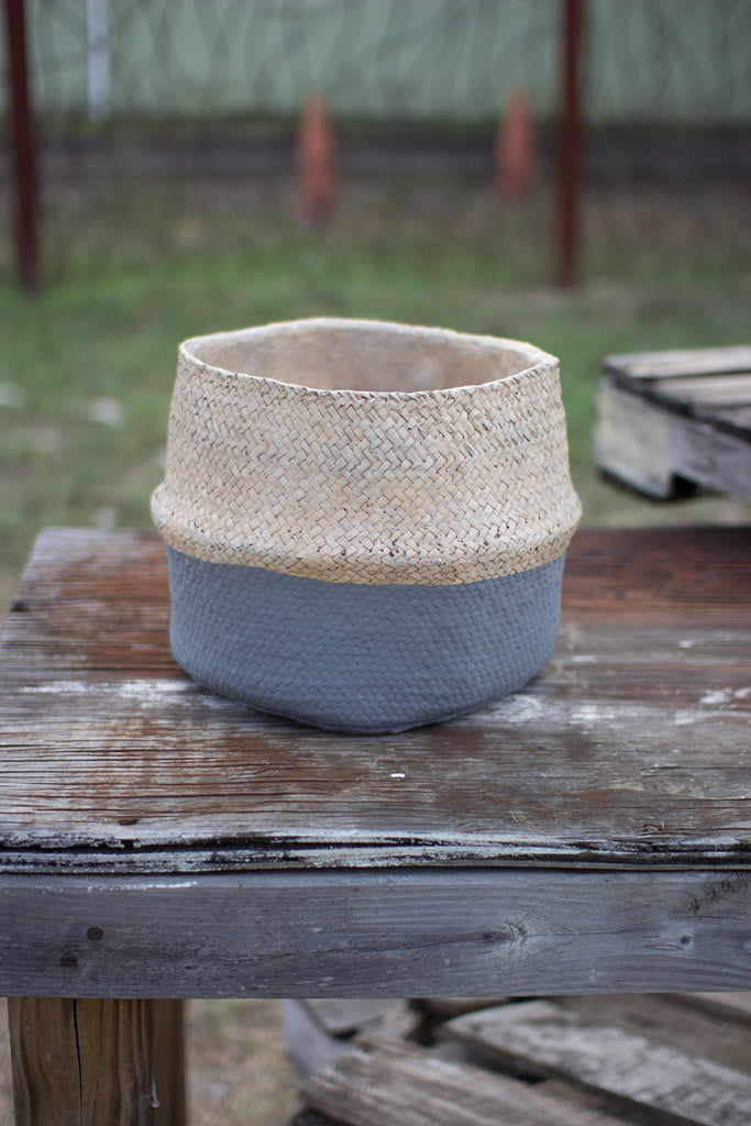 Woven Cement Planter in Natural and Grey