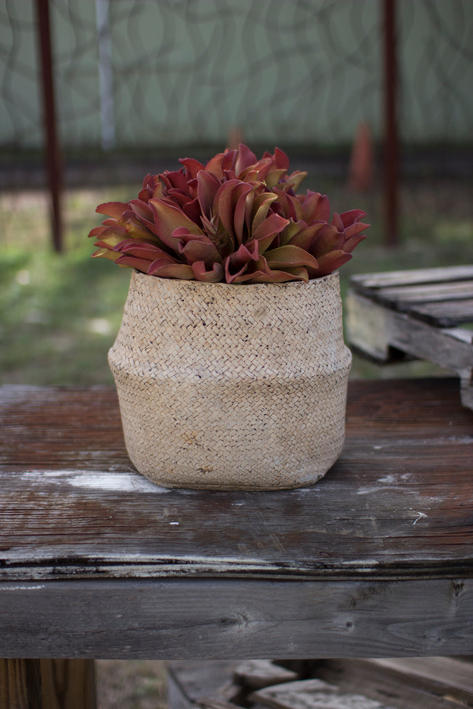 Woven Cement Planter in Natural