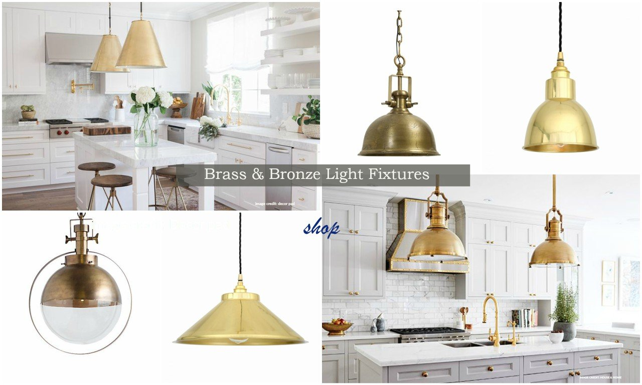 brass and bronze kitchen pendant lighting