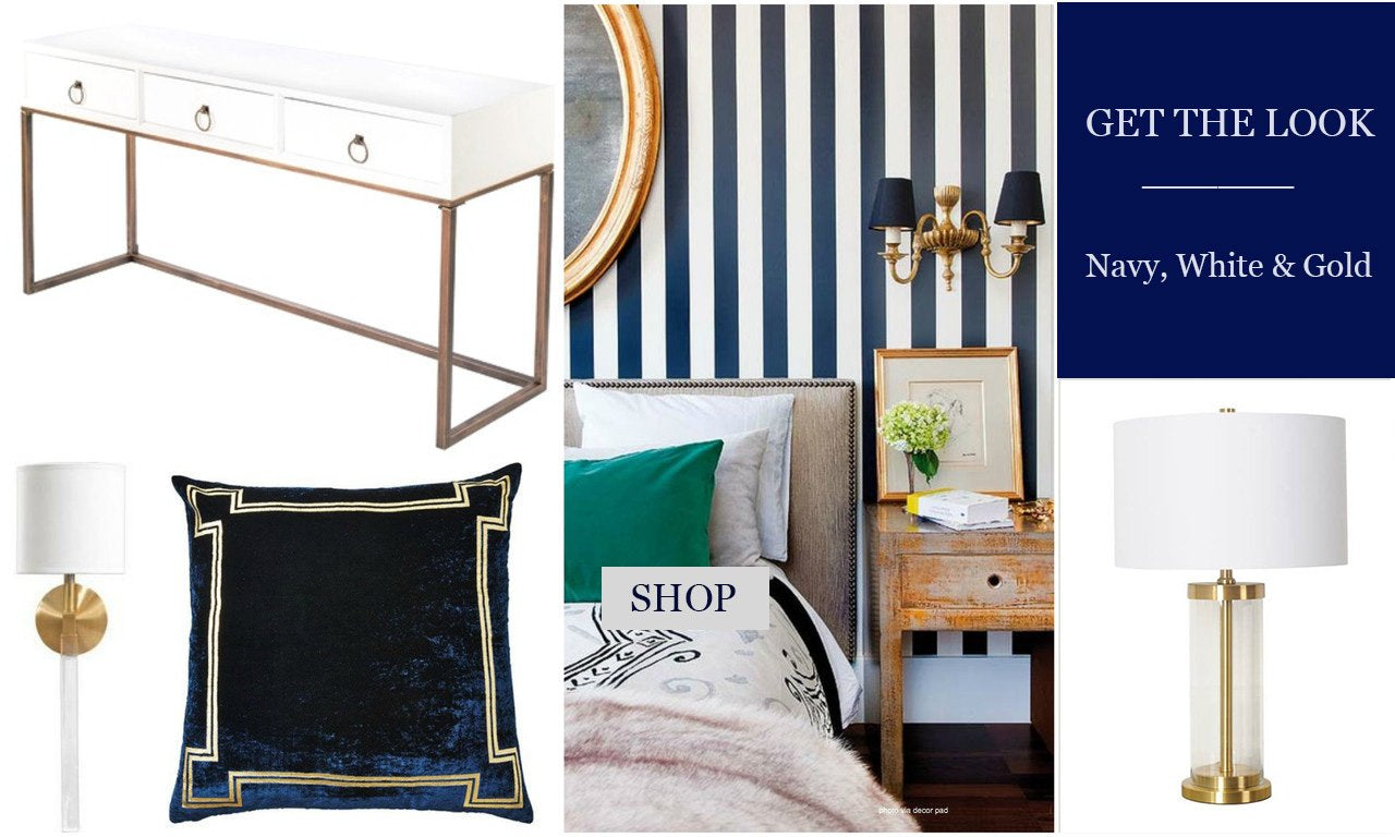 navy white and gold decor