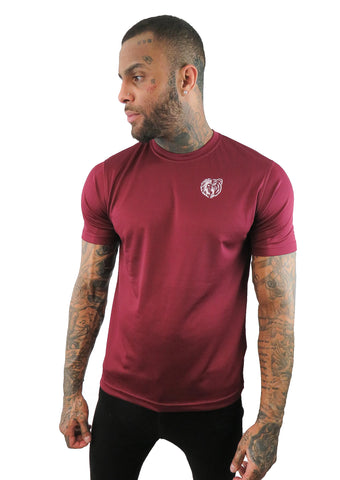 LBA CALM LION GROWLING BEAR TEE BURGUNDY