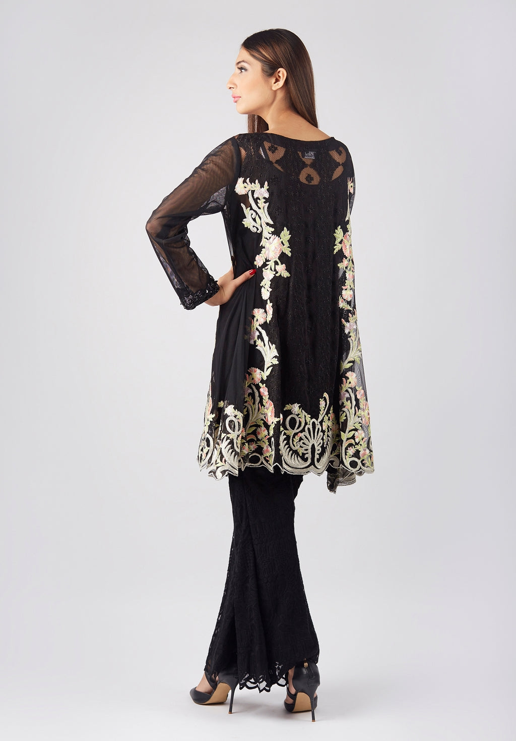 Black Embroidered Net Shirt & Slip