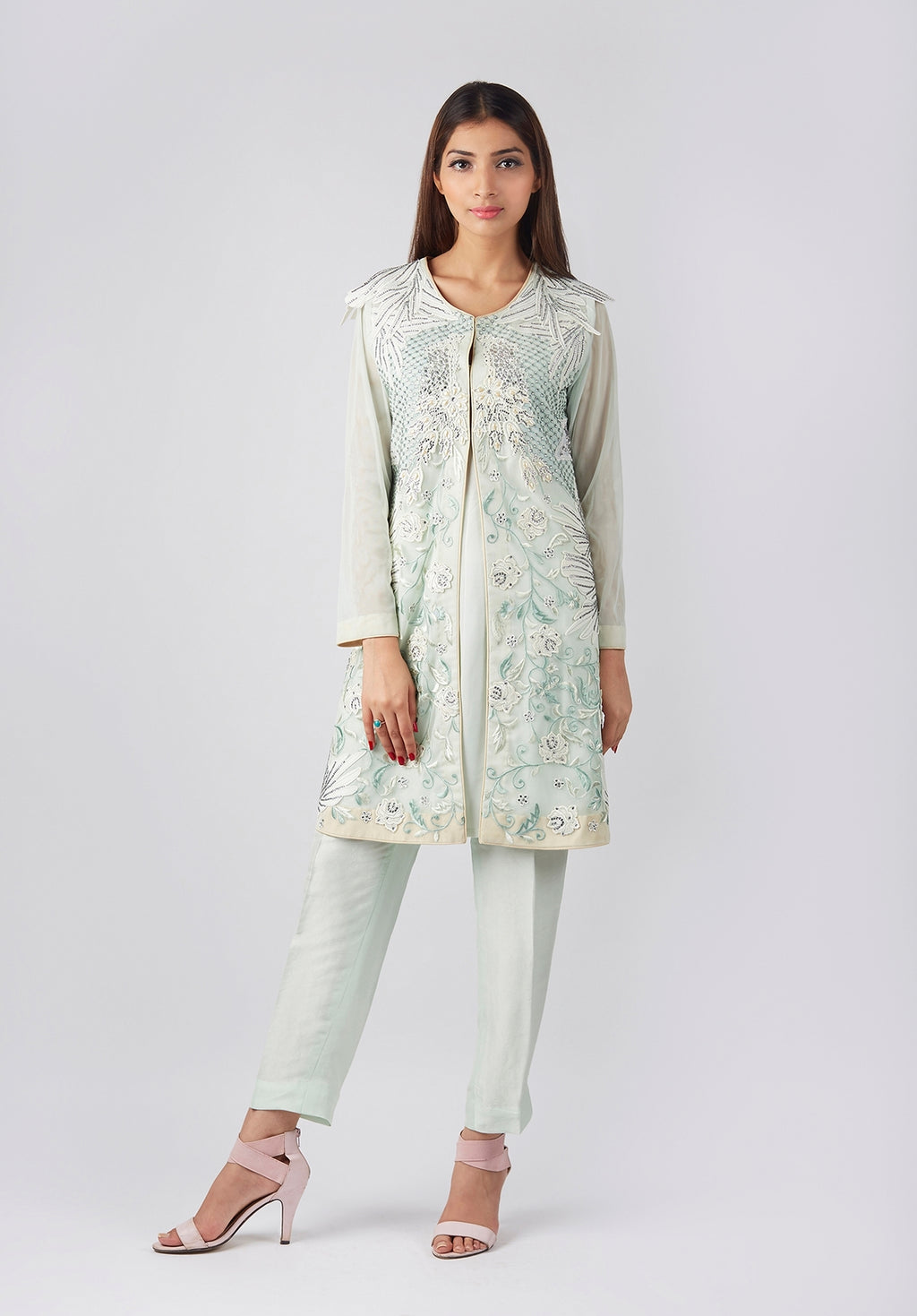 Mint Green Embroidered Coat (shirt slip)