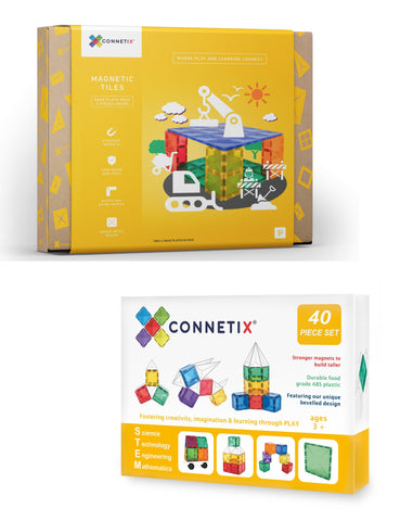 Bundle Sales - Connetix 40 Piece Square Pack + 2 Piece Base Plate Pack (Limited set)