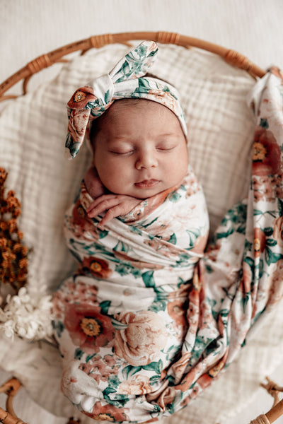 Baby Jersey Wrap & Topknot Set | Florence