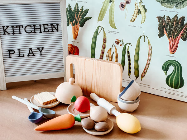 Wooden Kitchen Tools and Food Set