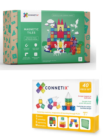 Bundle Sales - Connetix 100 Piece Set + Connetix 40 Piece Square Pack (Limited set)