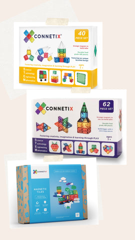Bundle Sales - Connetix 62 Piece Set + Connetix 40 Piece Square Pack + 24 Piece Car Pack (Limited set)