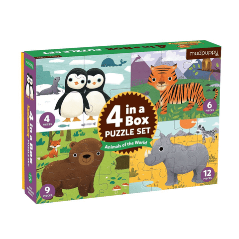Mudpuppy - Animals Of The World 4-In-A-Box Progressive Puzzle