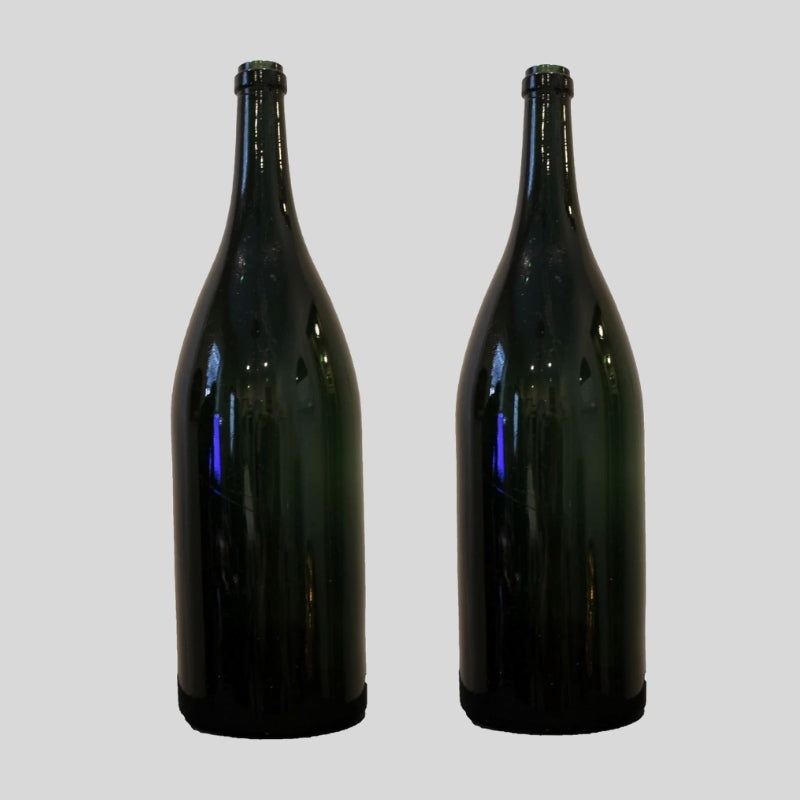 Pair Of 19th Century Large Green Wine Bottles