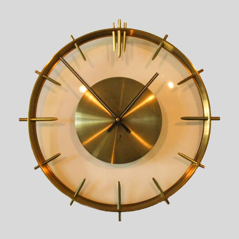 Vintage Clock In Brass And Glass By Jaz