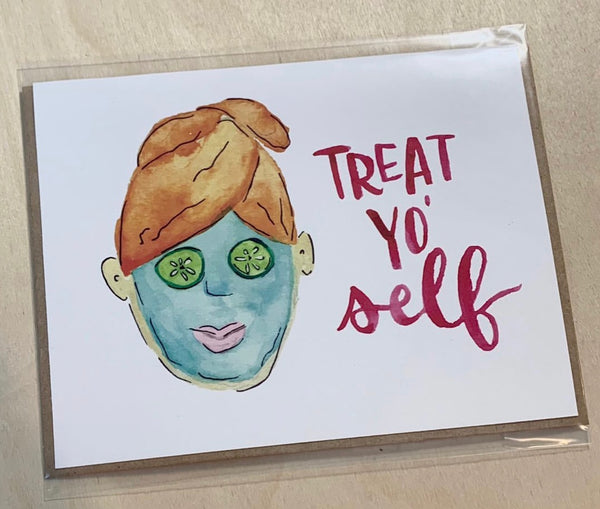 Humble Hands Watercolor Card - Treat Yo Self
